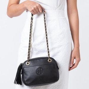 Tory Burch black leather Bombe chain crossbody bag